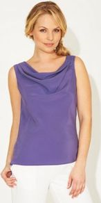 Harper Top Purple - neckline: cowl/draped neck; pattern: plain; sleeve style: sleeveless; style: blouse; predominant colour: purple; occasions: evening; length: standard; fibres: polyester/polyamide - 100%; fit: straight cut; sleeve length: sleeveless; texture group: silky - light; pattern type: fabric