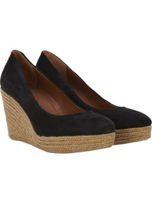 Suede Espadrilles, Black - secondary colour: camel; predominant colour: black; occasions: casual; material: suede; heel height: high; heel: wedge; toe: round toe; style: courts; finish: plain; pattern: plain