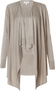 Kaila Waterfall Cardigan - pattern: plain; neckline: waterfall neck; length: below the bottom; style: open front; predominant colour: taupe; occasions: casual, evening, work; fibres: acrylic - mix; fit: loose; sleeve length: long sleeve; sleeve style: standard; texture group: knits/crochet; pattern type: knitted - fine stitch