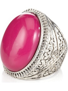 Bellaria Ring - predominant colour: hot pink; secondary colour: silver; occasions: evening, occasion; style: cocktail; size: large/oversized; material: chain/metal; finish: plain; embellishment: jewels