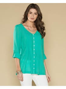 Pippa Pleat Blouse - neckline: v-neck; pattern: plain; style: blouse; predominant colour: mint green; occasions: casual, work, holiday; length: standard; fit: loose; sleeve length: long sleeve; sleeve style: standard; texture group: silky - light; pattern type: fabric; fibres: viscose/rayon - mix