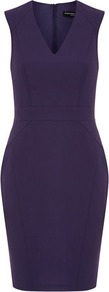 Purple Seam Detail Dress - style: shift; neckline: v-neck; sleeve style: capped; fit: tailored/fitted; pattern: plain; predominant colour: aubergine; occasions: evening, work, occasion; length: just above the knee; fibres: polyester/polyamide - 100%; sleeve length: sleeveless; texture group: crepes; trends: glamorous day shifts; pattern type: fabric