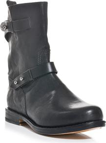 Moto Classic Boots - predominant colour: black; occasions: casual; material: leather; heel height: flat; embellishment: buckles; heel: standard; toe: round toe; boot length: mid calf; style: biker boot; finish: plain; pattern: plain