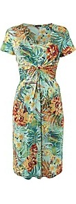 Print Jersey Gathered Dress - neckline: low v-neck; style: sundress; waist detail: twist front waist detail/nipped in at waist on one side/soft pleats/draping/ruching/gathering waist detail; secondary colour: mustard; occasions: evening, work, occasion, holiday; length: on the knee; fit: fitted at waist & bust; fibres: polyester/polyamide - stretch; hip detail: soft pleats at hip/draping at hip/flared at hip; predominant colour: multicoloured; sleeve length: short sleeve; sleeve style: standard; pattern type: fabric; pattern size: big & busy; pattern: florals; texture group: jersey - stretchy/drapey