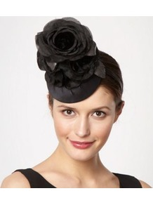 Designer Black Silk Petal Flower Button Headband - predominant colour: black; occasions: evening, occasion; type of pattern: standard; style: fascinator; size: standard; material: fabric; pattern: plain; embellishment: corsage