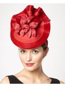 Designer Red Orchid Wave Headband - predominant colour: true red; secondary colour: true red; occasions: evening, occasion; type of pattern: light; style: fascinator; size: large; material: macrame/raffia/straw; pattern: plain; embellishment: corsage