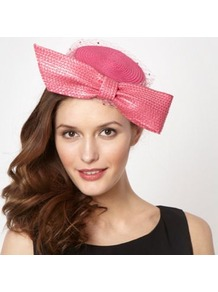 Designer Bright Pink Bow Gem Veil Headband - predominant colour: pink; occasions: evening, occasion; type of pattern: standard; style: pillbox; size: standard; material: macrame/raffia/straw; embellishment: bow; pattern: plain