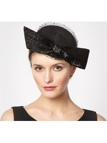 Designer Black Bow Gem Veil Headband - predominant colour: black; occasions: evening, occasion; type of pattern: light; style: pillbox; size: standard; material: macrame/raffia/straw; embellishment: bow; pattern: plain