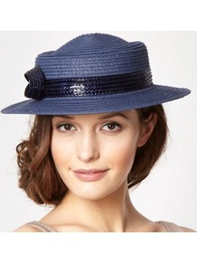Designer Navy Figure Of Eight Boater Hat - predominant colour: navy; secondary colour: navy; occasions: casual, evening, occasion, holiday; type of pattern: small; style: small brimmed; size: standard; material: macrame/raffia/straw; embellishment: bow; pattern: plain