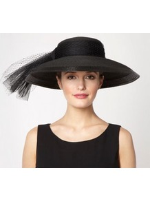 Black Oversized Mesh Bow Hat - predominant colour: black; occasions: evening, occasion; type of pattern: light; style: wide brimmed; size: large; material: macrame/raffia/straw; embellishment: bow; pattern: plain
