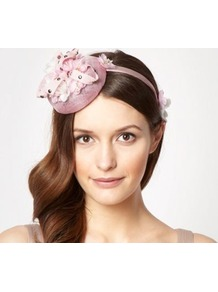 Designer Pale Pink Ribbon Stud Button Fascinator - secondary colour: ivory; predominant colour: blush; occasions: evening, occasion; type of pattern: small; style: fascinator; size: small; material: sinamay; embellishment: ribbon; pattern: plain