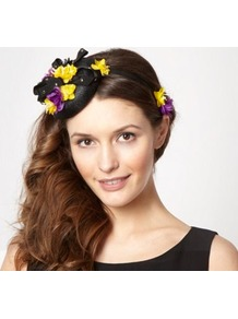 Designer Black Ribbon Stud Button Fascinator - secondary colour: yellow; predominant colour: black; occasions: evening, occasion; type of pattern: heavy; style: fascinator; size: small; material: sinamay; embellishment: ribbon; pattern: plain