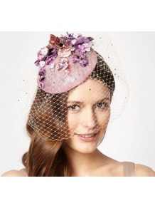 Designer Pale Pink Herbaceous Flower Beret Fascinator - predominant colour: blush; secondary colour: lilac; occasions: evening, occasion; type of pattern: large; style: fascinator; size: standard; material: sinamay; pattern: florals; embellishment: jewels