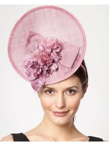 Pale Pink Velvet Flower Fascinator - predominant colour: blush; occasions: evening, occasion; type of pattern: light; style: fascinator; size: large; material: macrame/raffia/straw; pattern: plain; embellishment: corsage