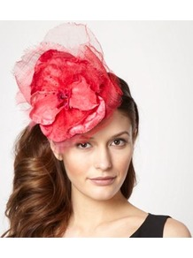 Designer Red Pansy Top Headband - predominant colour: pink; secondary colour: true red; occasions: occasion; style: fascinator; size: large; material: sinamay; pattern: plain; embellishment: corsage