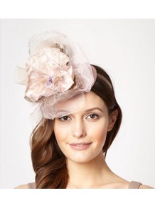 Designer Pale Pink Pansy Top Headband - predominant colour: blush; secondary colour: nude; occasions: occasion; type of pattern: standard; style: fascinator; size: large; material: sinamay; embellishment: crystals; pattern: plain