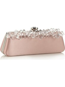 Designer Pale Pink Gem Detail Clutch Bag - predominant colour: blush; occasions: evening; style: clutch; length: hand carry; size: small; material: satin; pattern: plain; finish: plain; embellishment: jewels