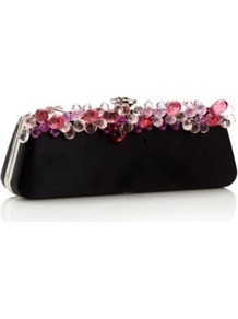Designer Black Gem Detail Clutch Bag - secondary colour: pink; predominant colour: black; occasions: evening, occasion; style: clutch; length: hand carry; size: small; material: satin; pattern: plain; finish: plain; embellishment: jewels