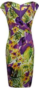 Printed Cotton Sateen Dress - style: shift; neckline: low v-neck; sleeve style: capped; fit: tailored/fitted; secondary colour: lime; occasions: evening, work, occasion; length: just above the knee; fibres: cotton - stretch; predominant colour: multicoloured; sleeve length: sleeveless; texture group: structured shiny - satin/tafetta/silk etc.; trends: high impact florals, glamorous day shifts; pattern type: fabric; pattern size: big & busy; pattern: florals