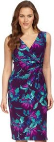 Jewel Floral Print Jersey Dress - style: faux wrap/wrap; neckline: low v-neck; sleeve style: sleeveless; predominant colour: purple; secondary colour: turquoise; occasions: evening, work, occasion; length: just above the knee; fit: body skimming; fibres: polyester/polyamide - stretch; sleeve length: sleeveless; trends: high impact florals, glamorous day shifts; pattern type: fabric; pattern size: big & busy; pattern: florals; texture group: jersey - stretchy/drapey