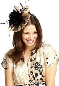 Ascot Fascinator - predominant colour: camel; secondary colour: black; occasions: evening, occasion; type of pattern: light; style: fascinator; size: standard; material: sinamay; embellishment: feather; pattern: plain
