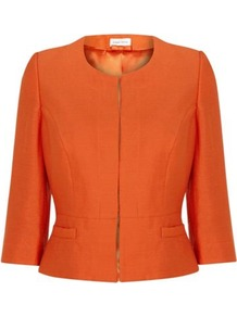 Slub Linen Jacket - pattern: plain; style: single breasted blazer; bust detail: added detail/embellishment at bust; collar: round collar/collarless; predominant colour: bright orange; occasions: casual, evening, work, occasion, holiday; length: standard; fit: tailored/fitted; fibres: linen - mix; waist detail: fitted waist; sleeve length: 3/4 length; sleeve style: standard; texture group: linen; collar break: high; pattern type: fabric