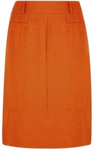 Slub Linen Skirt - pattern: plain; style: straight; waist: high rise; predominant colour: bright orange; occasions: casual, work; length: just above the knee; fibres: linen - mix; texture group: linen; fit: straight cut; pattern type: fabric