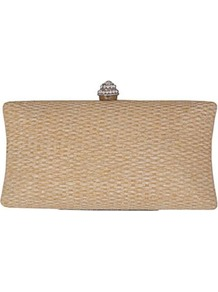Straw Hard Clutch - predominant colour: camel; occasions: evening; style: clutch; length: hand carry; size: small; material: plastic/rubber; embellishment: crystals; pattern: plain; finish: plain
