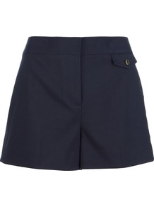 Tailored Shorts - pattern: plain; style: shorts; pocket detail: small back pockets; length: short shorts; waist: mid/regular rise; predominant colour: black; occasions: casual, evening, holiday; fibres: cotton - mix; texture group: cotton feel fabrics; fit: slim leg; pattern type: fabric