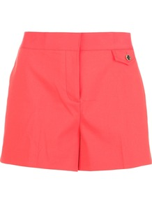 Tailored Short - pattern: plain; style: shorts; pocket detail: small back pockets; length: short shorts; waist: mid/regular rise; predominant colour: coral; occasions: casual, evening, holiday; fibres: cotton - mix; texture group: cotton feel fabrics; fit: slim leg; pattern type: fabric