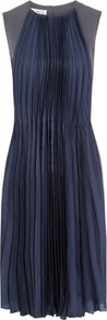 Crepe And Pleated Silk Dress - sleeve style: capped; fit: fitted at waist; pattern: plain; style: blouson; waist detail: twist front waist detail/nipped in at waist on one side/soft pleats/draping/ruching/gathering waist detail; back detail: contrast pattern/fabric at back; predominant colour: navy; secondary colour: charcoal; occasions: evening, occasion; length: on the knee; fibres: polyester/polyamide - mix; neckline: crew; hip detail: structured pleats at hip; sleeve length: sleeveless; texture group: sheer fabrics/chiffon/organza etc.; bust detail: tiers/frills/bulky drapes/pleats; pattern type: fabric