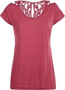 Plum Crochet Back T Shirt - pattern: plain; length: below the bottom; style: t-shirt; shoulder detail: contrast pattern/fabric at shoulder; back detail: contrast pattern/fabric at back; occasions: casual, holiday; neckline: scoop; fibres: cotton - 100%; fit: body skimming; sleeve length: short sleeve; sleeve style: standard; pattern type: knitted - big stitch; texture group: jersey - stretchy/drapey; predominant colour: dusky pink