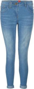 Light Blue Faded Turn Up Cropped Skinny Jeans - style: skinny leg; pattern: plain; pocket detail: traditional 5 pocket; waist: mid/regular rise; predominant colour: denim; occasions: casual, holiday; length: ankle length; fibres: cotton - stretch; jeans detail: whiskering, shading down centre of thigh; jeans &amp; bottoms detail: turn ups; texture group: denim; pattern type: fabric