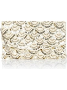 Cream Sequin Bead Scallop Clutch - predominant colour: ivory; secondary colour: silver; occasions: evening, occasion; style: clutch; length: hand carry; size: standard; material: fabric; embellishment: sequins; pattern: plain; finish: metallic