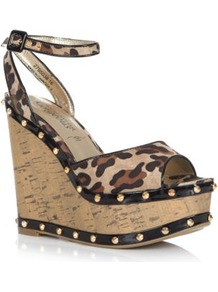 Brown Leopard Print Stud Cork Wedges - secondary colour: tan; predominant colour: stone; occasions: evening, holiday; material: fabric; heel height: high; embellishment: studs; ankle detail: ankle strap; heel: wedge; toe: open toe/peeptoe; style: standard; pattern: animal print