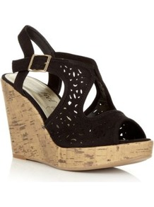 Wide Fit Black Laser Cut Wedge Sandals - predominant colour: black; material: faux leather; heel height: high; heel: wedge; toe: open toe/peeptoe; style: standard; occasions: holiday; finish: plain; pattern: plain