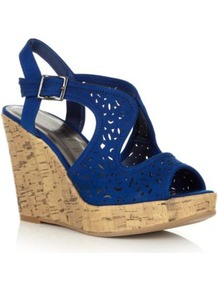 Wide Fit Blue Laser Cut Cork Wedges - predominant colour: royal blue; material: faux leather; heel height: high; heel: wedge; toe: open toe/peeptoe; style: standard; occasions: holiday; finish: plain; pattern: plain