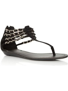 Wide Fit Black Chain Strap Sandals - predominant colour: black; material: fabric; heel height: flat; ankle detail: ankle strap; heel: standard; toe: toe thongs; style: flip flops / toe post; occasions: holiday; finish: plain; pattern: plain; embellishment: chain/metal