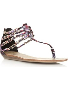 Wide Fit Red And Purple Aztec Chain Strap Sandals - predominant colour: multicoloured; material: faux leather; heel height: flat; ankle detail: ankle strap; heel: standard; toe: toe thongs; style: flip flops / toe post; occasions: holiday; finish: plain; pattern: patterned/print; embellishment: chain/metal