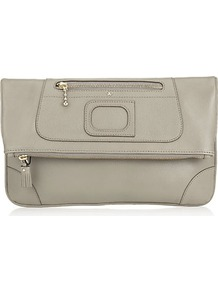 Paxton Fold Over Clutch - predominant colour: stone; occasions: evening; style: clutch; length: hand carry; size: small; material: leather; pattern: plain; finish: plain
