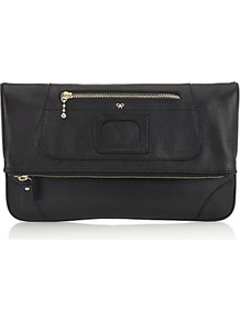 Paxton Fold Over Clutch - predominant colour: black; occasions: evening; style: clutch; length: hand carry; size: small; material: leather; pattern: plain; finish: plain