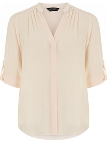 Peach Roll Sleeve Shirt - pattern: plain; style: shirt; predominant colour: nude; occasions: casual, work; length: standard; neckline: mandarin with v-neck; fibres: polyester/polyamide - 100%; fit: straight cut; shoulder detail: flat/draping pleats/ruching/gathering at shoulder; sleeve length: half sleeve; sleeve style: standard; texture group: sheer fabrics/chiffon/organza etc.; pattern type: fabric