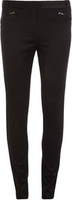 Black Skinny Trousers - length: standard; pattern: plain; waist: mid/regular rise; predominant colour: black; occasions: evening; fibres: polyester/polyamide - stretch; fit: skinny/tight leg; pattern type: fabric; texture group: other - light to midweight; style: standard