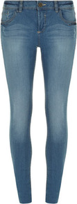 Bleach Washed Authentic Skinny Jeans - style: skinny leg; length: standard; pattern: plain; pocket detail: traditional 5 pocket; waist: mid/regular rise; predominant colour: denim; occasions: casual; fibres: cotton - stretch; jeans detail: shading down centre of thigh; texture group: denim; pattern type: fabric