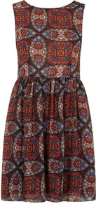 Petite Red Floral Tea Dress - length: mid thigh; neckline: round neck; sleeve style: sleeveless; waist detail: fitted waist; predominant colour: terracotta; secondary colour: black; occasions: casual, evening; fit: fitted at waist &amp; bust; style: fit &amp; flare; fibres: polyester/polyamide - 100%; hip detail: soft pleats at hip/draping at hip/flared at hip; sleeve length: sleeveless; texture group: sheer fabrics/chiffon/organza etc.; pattern type: fabric; pattern size: big &amp; busy; pattern: patterned/print