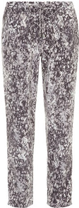 Luxe Smudge Print Zip Jogger - length: standard; style: tracksuit pants; pocket detail: pockets at the sides; waist detail: belted waist/tie at waist/drawstring; waist: mid/regular rise; secondary colour: silver; predominant colour: charcoal; occasions: casual, evening, holiday; fibres: polyester/polyamide - 100%; hip detail: front pleats at hip level; texture group: crepes; trends: sporty redux; fit: tapered; pattern type: fabric; pattern size: small & busy; pattern: patterned/print