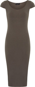 Khaki Midi Tube Dress - sleeve style: capped; fit: tight; pattern: plain; style: bodycon; predominant colour: khaki; occasions: casual, evening, work; length: on the knee; neckline: scoop; fibres: cotton - 100%; sleeve length: sleeveless; texture group: jersey - clingy; pattern type: fabric