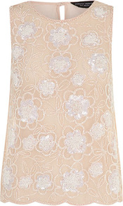 Blush Embellished Vest - neckline: round neck; sleeve style: sleeveless; bust detail: added detail/embellishment at bust; predominant colour: nude; occasions: evening, occasion; length: standard; style: top; fibres: polyester/polyamide - 100%; fit: body skimming; back detail: keyhole/peephole detail at back; sleeve length: sleeveless; texture group: sheer fabrics/chiffon/organza etc.; pattern type: fabric; pattern size: small & light; pattern: florals; embellishment: sequins