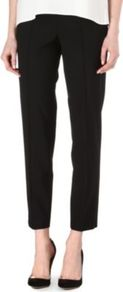 Tubisa Cropped Trousers - pattern: plain; style: capri; waist detail: fitted waist; waist: mid/regular rise; predominant colour: black; occasions: evening, work; length: calf length; fibres: wool - mix; fit: slim leg; pattern type: fabric; texture group: woven light midweight
