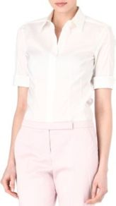 Folded Sleeve Shirt - neckline: shirt collar/peter pan/zip with opening; pattern: plain; style: shirt; predominant colour: white; occasions: casual, work; length: standard; fibres: cotton - mix; fit: tailored/fitted; sleeve length: half sleeve; sleeve style: standard; texture group: cotton feel fabrics; pattern type: fabric